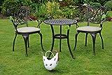 Made for us® Alu-Gartenmöbel-Set 5 teilig Gartentisch, Ø 60 cm und 2 Gartenstühle aus wetterfestem Aluguss-Metall mit UV beständiger AkzoNobel Einbrennlackierung. Inkl. 2 waschbaren Sitzkissen.