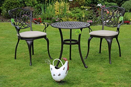 Made for us Alu-Gartenmöbel-Set 5 teilig Gartentisch, Ø 60 cm und 2 Gartenstühle aus wetterfestem Aluguss-Metall mit UV beständiger AkzoNobel Einbrennlackierung. Inkl. 2 waschbaren Sitzkissen.