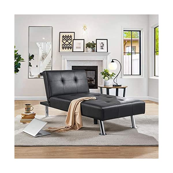 Yaheetech Black Faux Leather Sofa Sleeper Bed