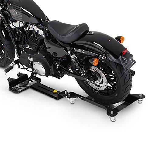 ConStands Motomover III - Motorrad Rangierschiene für Harley Davidson Dyna Wide Glide (FXDWG) Schwarz Längenverstellbar Rangierhilfe Seitenständer Hinterrad