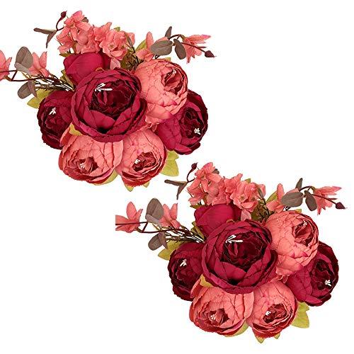 Tifuly 2 mazzi di peonie Artificiali, Bouquet di Fiori Vintage di peonie di Seta realistiche per la Decorazione Domestica del Partito dell'ufficio di Nozze, composizioni Floreali (Rosso Scuro)