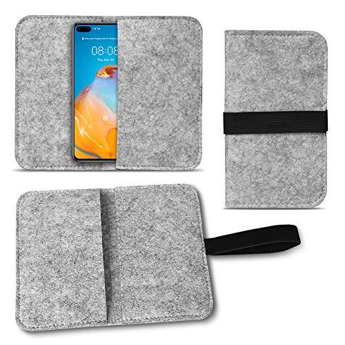 UC-Express Handy Hülle kompatibel für Huawei Serie Filz Tasche Schutzhülle Filzhülle Cover Schutz Hülle, Farbe:Hell Grau, Smartphone:Huawei P40 Lite