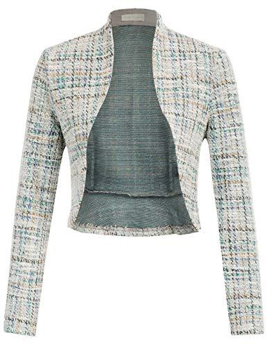 Women Long Sleeve Bolero Cardigans 50s Dressy Shrugs for Evening Wear (Tweed#2, M)
