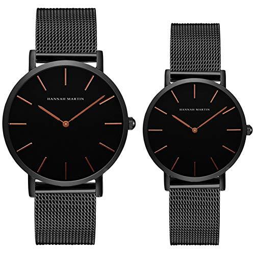 Kubagom Paar Uhren Analog Quarz Edelstahl Wasserdicht Mesh Ultradünne Set für Sie und Ihn (Schwarz Oberfläche,Schwarz Armband 1)