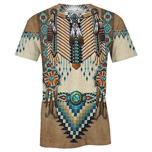 Native Indian 3D Print Americans Tribal T-Shirt Casual Summer tee Camiseta de Manga Corta Tops Casuales para Mujeres Hombres