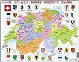 Larsen K43 Mapa político de Suiza, edición en Multilingüe (Alemán/Francés/Italiano), Puzzle de Marco con 70 Piezas