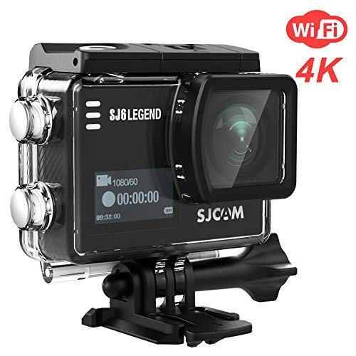 SJCAM SJ6 Legend 4K WiFi Action Camera 16MP Dual Screen Remote Sports Control WiFi Cam- Touchscreen/ 170 Degree Wide Angel/Gyro Stabilization Supported Underwater Waterproof Camera- Black