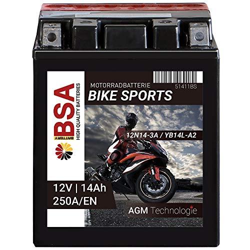 Preisvergleich Produktbild BSA Motorrad Batterie AGM YB14L-A2 14AH 12V 250A / EN Motorradbatterie CB14L-A2 Erstausrüsterqualität trocken vorgeladen inkl. Säurepack total wartungsfreie Starterbatterie