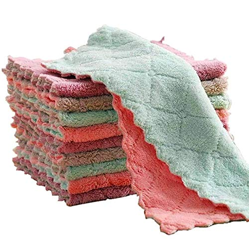 Ctzrzyt 20PCS Absorbent Kitchen Rags Thickened Lint-Free Rags Oil-Free Towels Household Dishwashing Cleaning Cloth