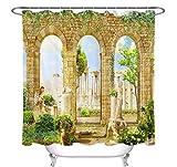 Hongtubaye Griechischen Säule Statue Efeu Blume Duschvorhang Ansicht Bad Wasserdicht Waschbar Stoff Kunst Badewanne Dekoration 180 * 200 cm