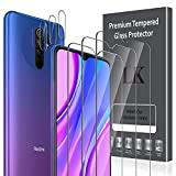 LK [6 Pack Protector de Pantalla para Xiaomi Redmi 9 Cristal Templado + Xiaomi Redmi 9 Protector de Lente de cámara [Doble protección, Alta Transparencia, antiarañazos]