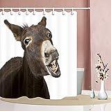 Brandless Tier lustig Esel Duschvorhang Mehltau widerstandsfähig Polyester Stoff Badezimmer Fantastische Dekorationen Bad Gardinen-150x180cm