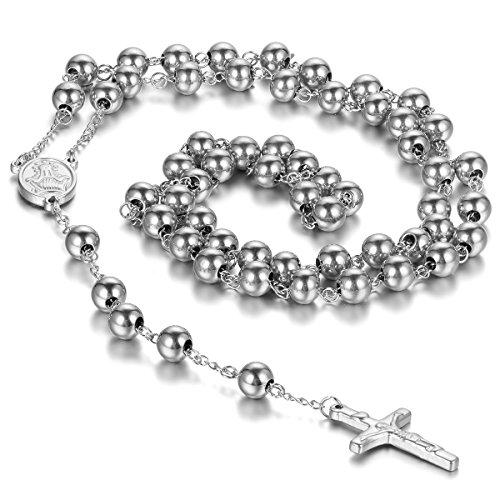 cupimatch Unisex Edelstahl Christian katholischen Religiöse Rosenkranz Kreuz Kruzifix Anhänger Lang Link Perlen Kette Halskette Silber Farbe