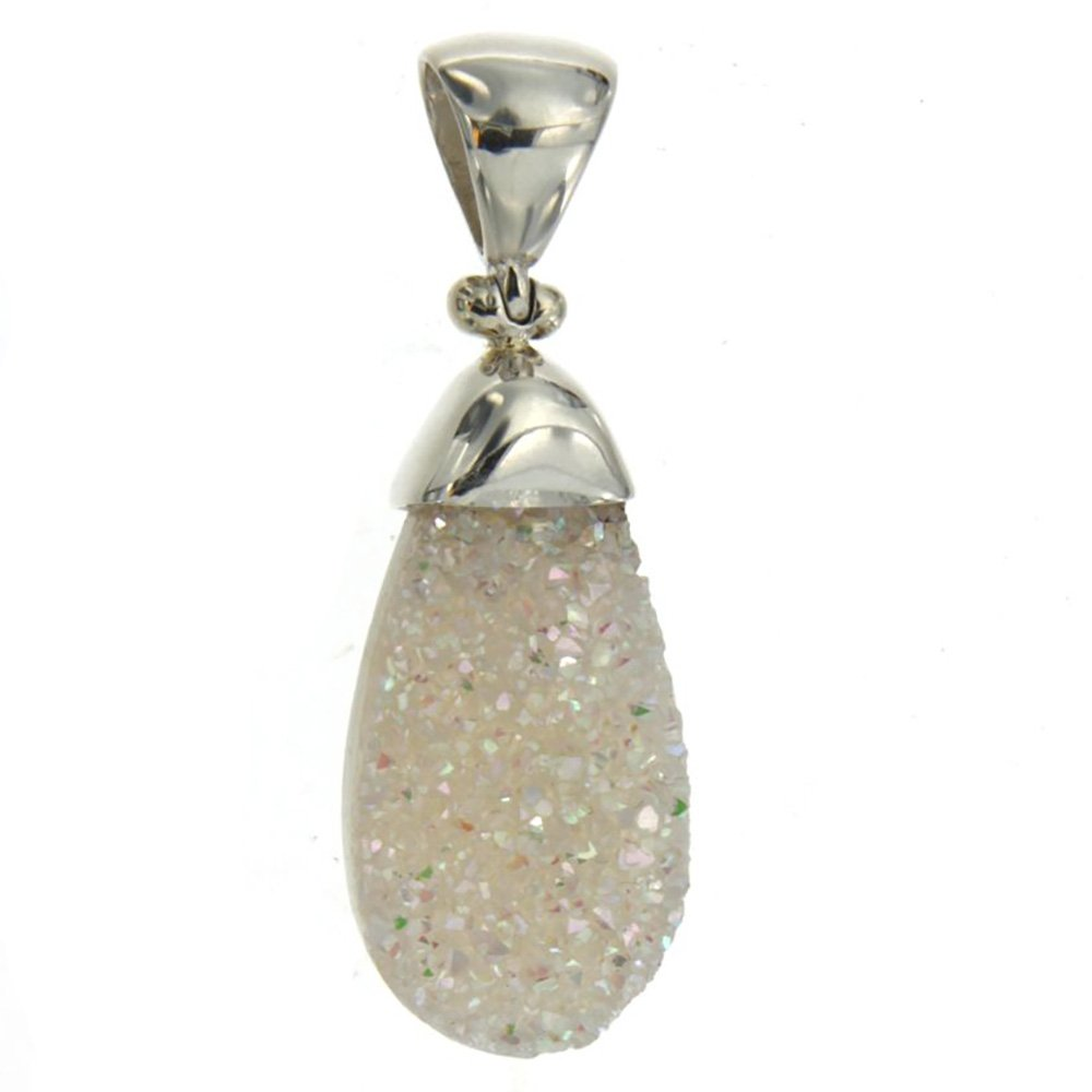 Starborn Creations Sterling Silver Hot Papaya Drusy and Moonstone Pendant