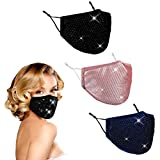 Bling Sequin Glitter Face Mask Women, Rhinestone Sparkly Diamond Breathable Reusable Washable Cute Fashionable Adjustable Beauty Lightweight Fashion Fancy Pretty Designer Cotton(black pink navy)