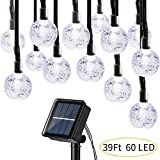 Upgraded Globe Solar String Lights, 39Ft 60 LED 8 Modes Waterproof Bulb Solar