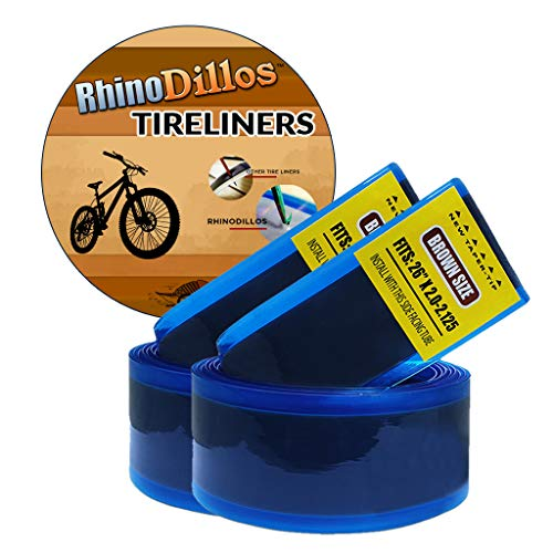 """Rhinodillos 26 inch Bicycle Tire Liner for Mountain Bikes, 26"""" 1.95 – 2.35, 2.5"""", no Package Brown Pair (2 Liners)"""