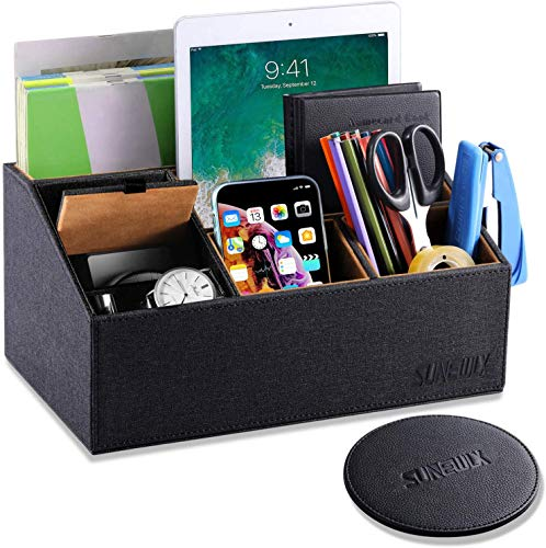 Sunewlx Desk Organizer, Nice Handmade Premium Leather Desktop Organizer / bedside table organizer with cover for office & home, 6 Compartments & Large Capacity, Perfect Gift Idea (Black)