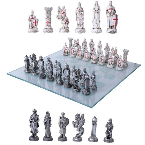 Gifts & Decors Crusader Christian Kingdoms VS Muslim Ottoman Empire Resin Chess Pieces with Glass Board Set