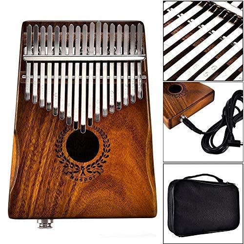 GUOQING SFFSM 17 Tasten EQ Kalimba Acacia Daumenklavier Link-Lautsprecher elektrische Aufnahmen calimba Tasche Kabel Massivholz Kalimba Musikinstrument Sanza (Farbe : Teak Color)