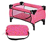 fash n kolor Doll Pack N Play Crib Polka Dot Design Fits up to 18' Dolls Blanket and Carry Bag Included