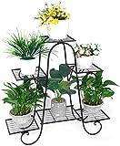 ybaymy Soporte para flores con 4 estantes, escalera para plantas, estantería para plantas para interiores, balcón, sala de estar, exterior o jardín, color negro