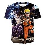 XKDZT Camiseta De Verano Anime Naruto Sasuke Uchiha Camisa con Estampado 3D Moda Hombre Streetwear Mujeres Manga Corta Cuello Redondo Tops-5XL