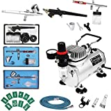 Display4top 1/5HP Multi-Purpose Professionale Aerografo Compressor Kit Sistema, con 2...