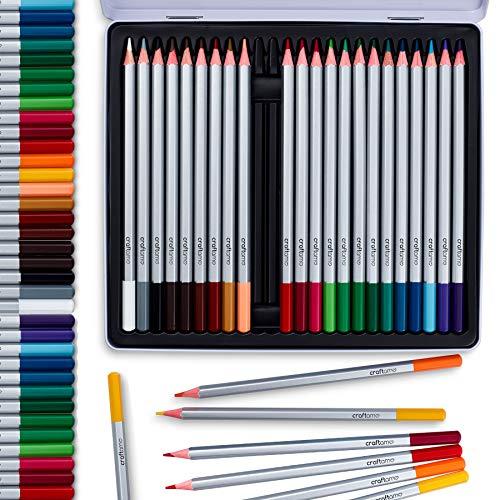24 lápices acuarela de calidad artística y profesional, de colores únicos y brillantes en caja de aluminio. Lápices de acuarela solubles en agua para efectos de mezcla húmeda y seca.