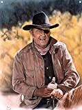 John Wayne - True Grit Metal Art Print from Original Drawing & Painting by Artist Mike Bennett 9' x 12'