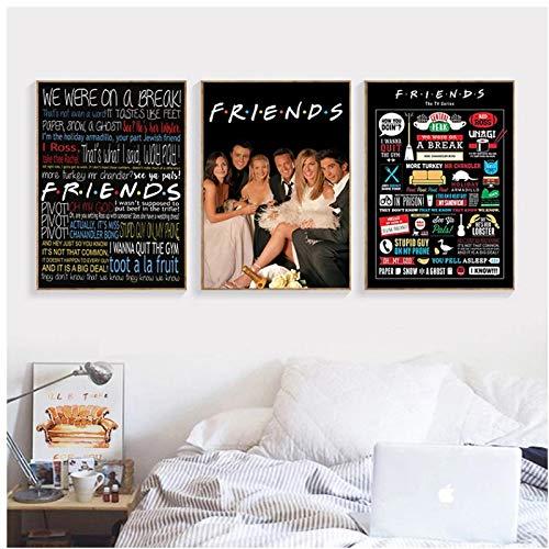 ZQXXX Amigos programa de televisión imprimir citas cartel pintura cartel amigo pared imagen decoración del hogar impresión en lienzo-50x70cmx3 sin marco