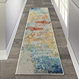 Nourison Celestial Modern Abstract Area Rug Runner, 2'2' x 7'6' (2x8), Sealife Multicolor Grey
