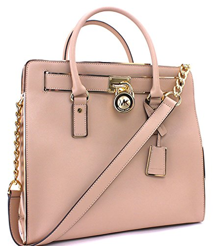 "Gold-tone hardware. Magnetic snap closure. Zipper pocket, dog clip and 4 additional pockets inside. Approx. 14.5 x 13.5 x 5.25""; 4.5"" handle drop."