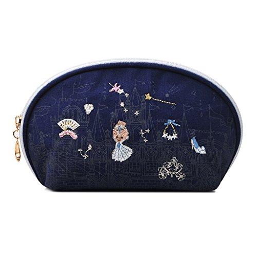 Chang Xiang Ya Shop Sac cosmétique de stockage sac cosmétique brodé par bleu paquet portatif de petite coquille