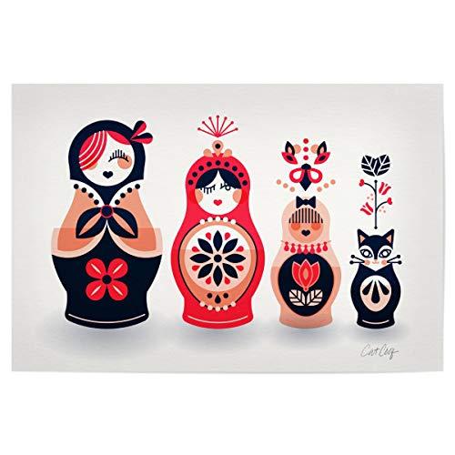 artboxONE Poster 45x30 cm Floral Russische Puppen hochwertiger Design Kunstdruck - Bild Puppen Katze blätter