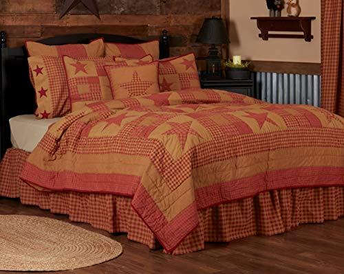 VHC Brands Ninepatch Star Luxury King Quilt 120Wx105L Country Patchwork Design, Burgundy