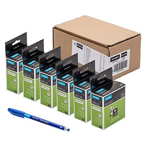 Dymo S0722550 - Etichette originali per scrittori di etichette multiuso, rimovibili, 11355, 19 x 51 mm, 500/rotolo + penna PaperMate regalo