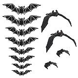 BELIOF Set de decoración de murciélagos de Halloween 8 murciélagos Colgantes realistas y 12 Piezas de Accesorios de murciélagos de Pegatina de luz de murciélago 3D para decoración de Halloween