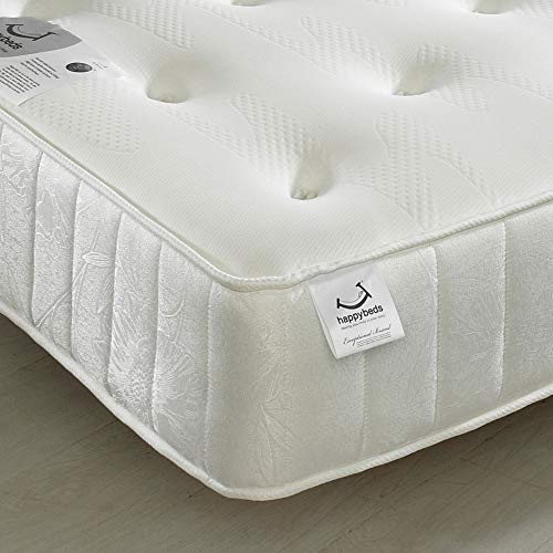 Memory Foam Open Coil Spring, Happy Beds Memory Maestro Medium Soft Tension Mattress with Reflex Foam - 4ft6 Double (135 x 190 cm)
