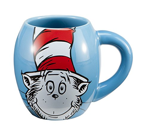 Vandor Dr. SeussThe Cat in the Hat 18 oz Oval Ceramic Mug, Blue, Red, and White