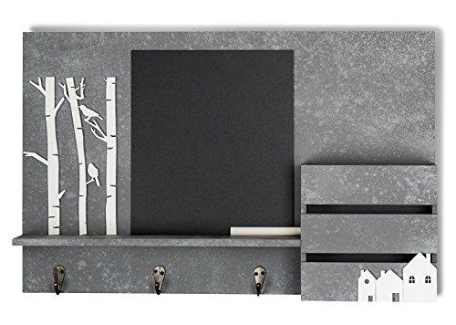 levandeo Memoboard Organizer Holz B x H x T 47x30x8cm Kreidetafel Garderobe Beton Optik inkl. Kreide