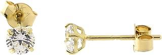 14k Yellow, White or Rose Gold Basket Set Cubic Zirconia Stud Earrings