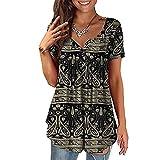 BAINA Camisetas de Mujer Camisetas con Estampado Floral Vintage Camisetas de Manga Corta de Verano con Cuello en V Informal para Mujer Blusa Suelta Blusa túnica Tallas Grandes M - 4XL