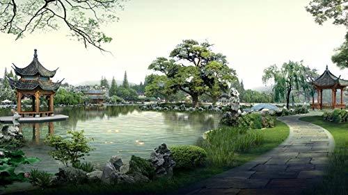 DIY malowanie według numerów dla dorosłych DIY zestaw do malowania olejnego dla dzieci początkujących - chińskie jezioro besetka drzewo bonsai 40 x 50 cm