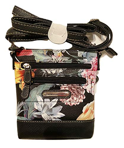 Stone Mountain Bonded Leather Assorted Floral Design Small Bagger Crossbody Adjustable Strap