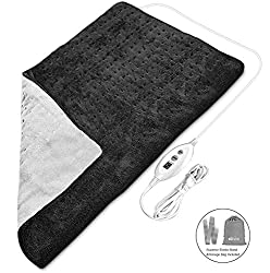 Heating Pads for Back Pain, Koviti Large Heating Pad[17''x33'']with 6 Heat Setting&2H Auto Shut Off for Fast Neck/Shoulder/Foot Pain Relief, Soft Moist Heating Pad with Elastic Band&Storage Bag(Black)