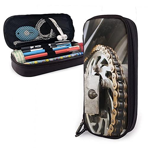 Bolsa para lápices de cuero con cadena de rueda de motocicleta, gran capacidad, duradera, con cremallera, caja para bolígrafos, estuche para lápices, almacenamiento, maquillaje, cosméticos