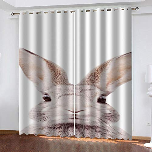 YTSDBB Cortinas Salon Modernas Conejo Animal Ancho 234 x Altura 230 cm Salón Dormitorio Opacas Proteccion Intimidad Aislantes Térmicas Cortinas Ventanas para 100% Poliester 2 Pieza
