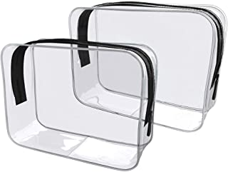 Morjeas Travel Clear Toiletry Bag TSA Approved 3-1-1 Quart Sized Compliant Bag Carry On Airport Airline Crystal Clear Make-up Pouch with Movable Handle 2Pcs (Transparent)