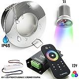 Kit de 2 spots LED 18 W encastrables chromothérapie lumière salle de bain douche IP65 RGB 12 V Silver Cromato